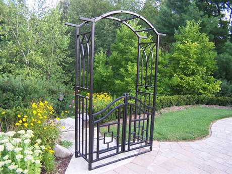 Oakland Living Mississippi Wrought Iron Royal Arbor with Gate OL5023BK