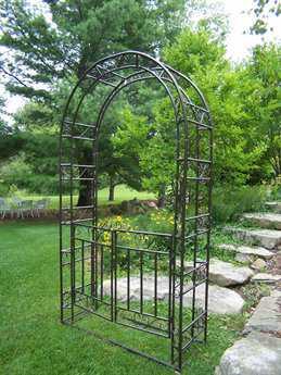Oakland Living Mississippi Cast Iron Gated Garden Arbor