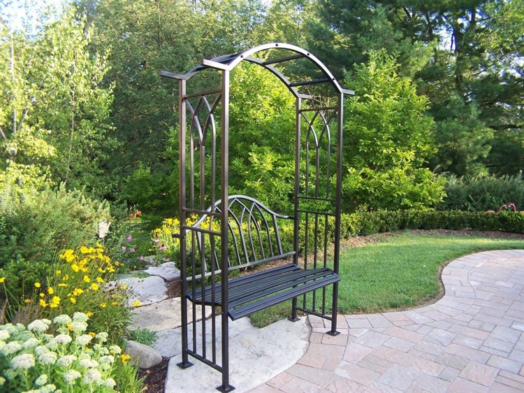 Remarkable Oakland Living Mississippi Wrought Iron Arbor With Bench Squirreltailoven Fun Painted Chair Ideas Images Squirreltailovenorg