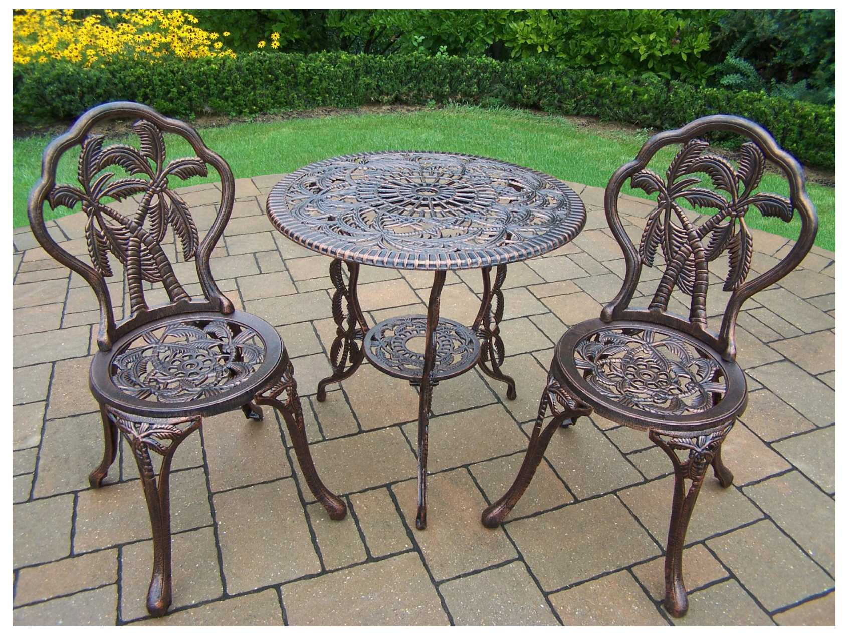 Oakland Living Palm Tree Cast Aluminum 3 Pc Bistro Set 3716 Ab