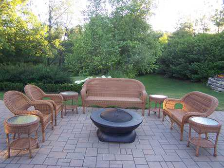Oakland Living Resin Wicker 9 Pc. Seating Set in Natural