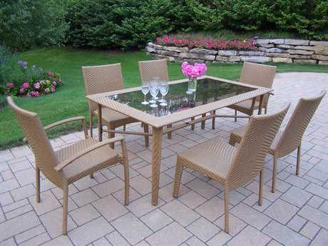Oakland Living Sun Shade Wicker Woven 7 Pc. Dining Set in Natural