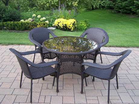 Oakland Living Resin Wicker 5 Pc. Dining Set in Coffee