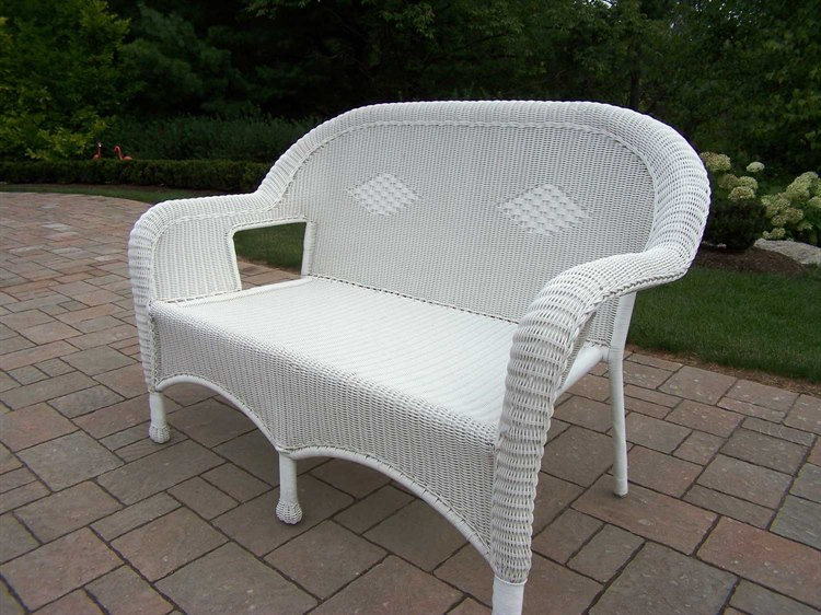 Excellent Oakland Living Resin Wicker Loveseat In White Cjindustries Chair Design For Home Cjindustriesco