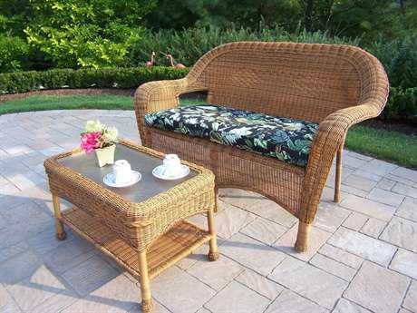 Oakland Living Resin Wicker 2 Pc. Loveseat Sets with Cushion in Natural