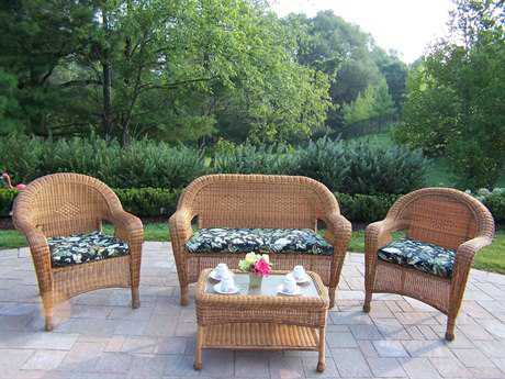 Oakland Living Resin Wicker 4 Pc. Seating Set with Cushions in Natural