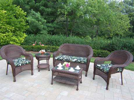 Oakland Living Resin Wicker 5 Pc. Seating Set with Cushions in Coffee