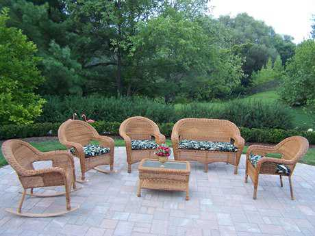 Oakland Living Resin Wicker 6 Pc. Seating Set with Cushions in Natural