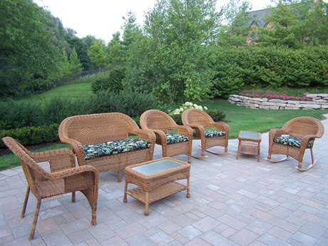 Oakland Living Resin Wicker 7 Pc. Seating Set with Cushions in Natural