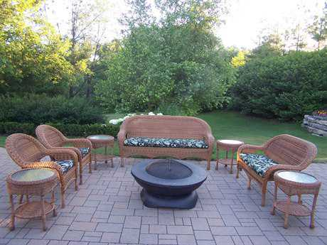 Oakland Living Resin Wicker 9 Pc. Seating Set with Cushions in Natural