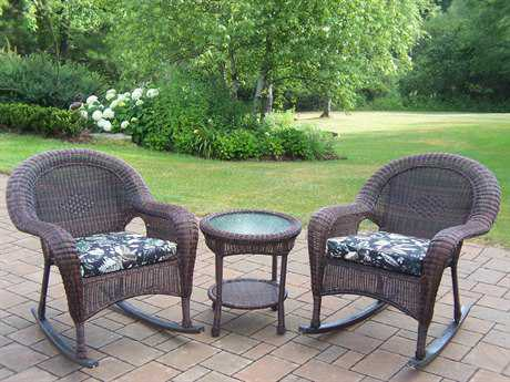 Oakland Living Resin Wicker 3 Pc. Rocker Set with Cushions in Coffee