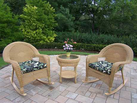 Oakland Living Resin Wicker 3 Pc. Rocker Set with 2 Cushions in Honey