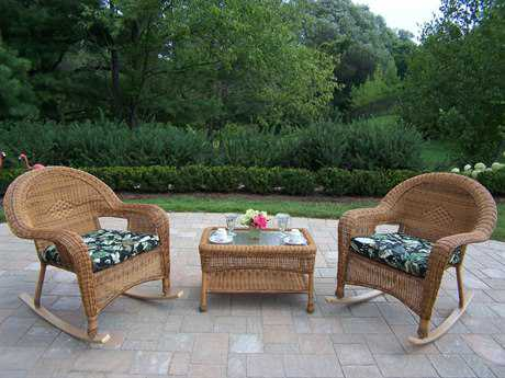 Oakland Living Resin Wicker 3 Pc. Rocker Set with Cushion in Natural
