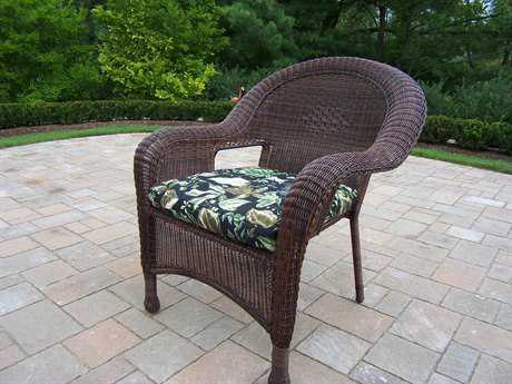 Oakland Living Resin Wicker Arm Chair with Cushions in Coffee Pack 2