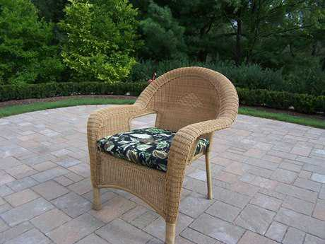 Oakland Living Resin Wicker Arm Chair with Cushions in Honey Pack of 2