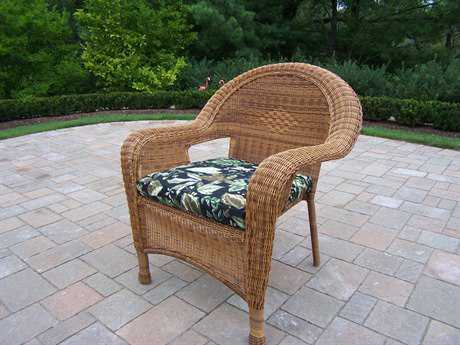 Oakland Living Resin Wicker Arm Chair in Natural Pack of 2