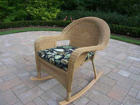 Oakland Living Resin Wicker Rockers with Cushions in Honey Pack of 2
