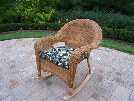 Oakland Living Resin Wicker Rockerwith Cushion in Natural