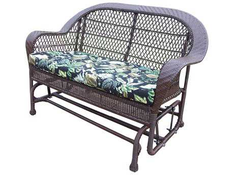 Oakland Living Coventry Resin Wicker Glider with Cushion in Coffee