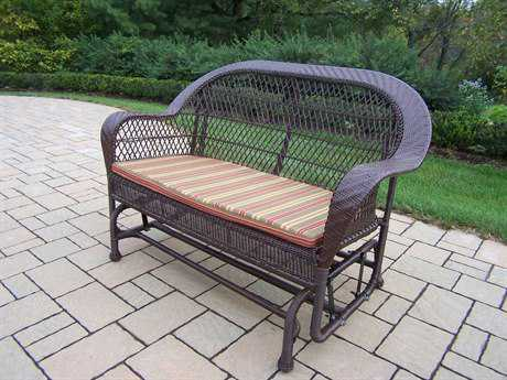 Oakland Living Resin Wicker Coventry Glider with Cushion in Coffee