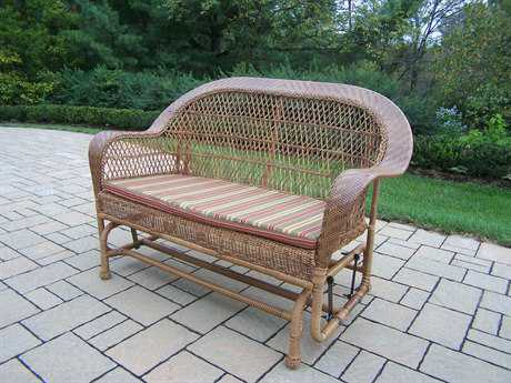 Oakland Living Resin Wicker Coventry Glider with Cushions in Natural