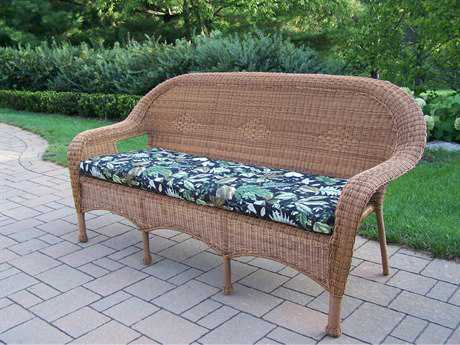 Oakland Living Resin Wicker 3 Seated Sofa with Cushion in Natural