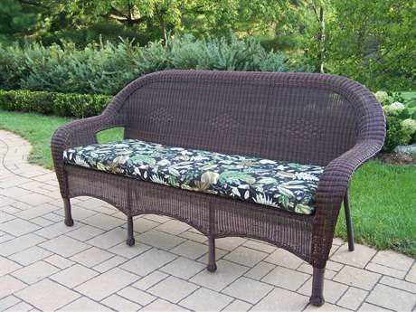Oakland Living Resin Wicker 3 Seated Sofa with Cushion in Coffee