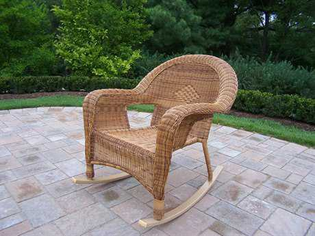 Oakland Living Resin Wicker Pair of Rockers Pack of 2 in Natural