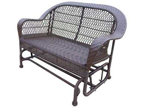 Oakland Living Resin Wicker Coventry Glider in Coffee