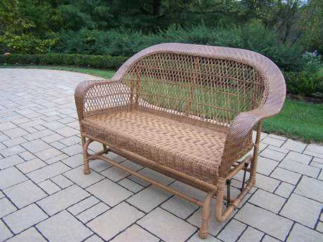 Oakland Living Resin Wicker Coventry Glider in Natural