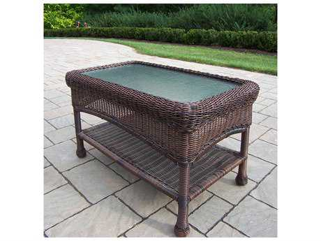 Oakland Living Resin Wicker 29 x 17.5 Rectangular Glass Coffee Table 29W x 17.5D x 18H
