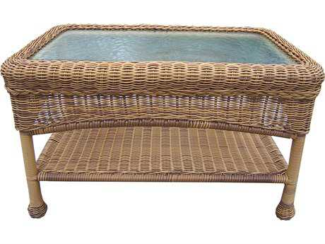 Oakland Living Resin Wicker 29 x 17.5 Rectangular Glass Coffee Table in Natural