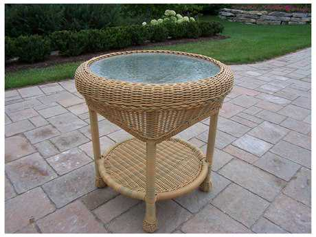 Oakland Living Resin Wicker 21 Round Glass End Table in Honey