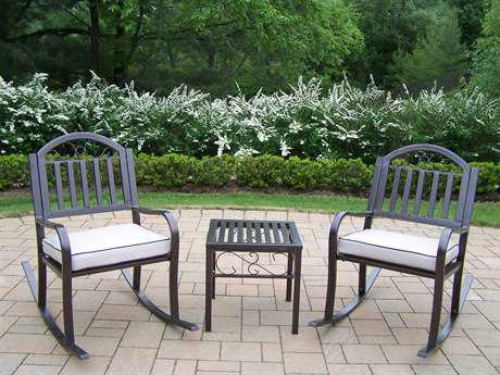 Oakland Living Rochester Wrought Iron Rocker 3 Pc. Set