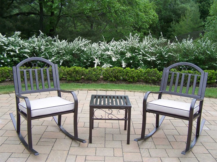 Oakland Living Rochester Wrought Iron Rocker 3 Pc. Set PatioLiving