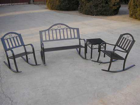 Oakland Living Rochester Wrought Iron Rochester 4 Pc. Rocker Set