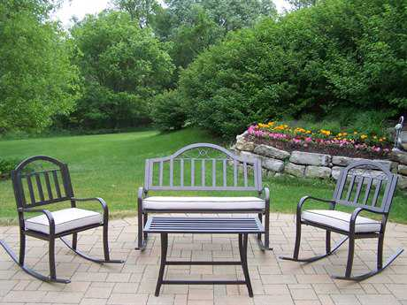 Oakland Living Rochester Wrought Iron 4 Pc. Rocker Set with Cushions