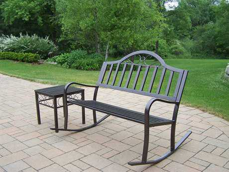 Oakland Living Rochester Wrought Iron Rocker Bench Set