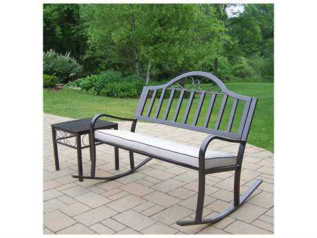 Oakland Living Rochester Wrought Iron Rocking Bench Set with Cushion
