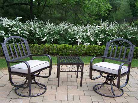 Oakland Living Rochester Wrought Iron 3 Pc. Swivel Chair Set with Cushion