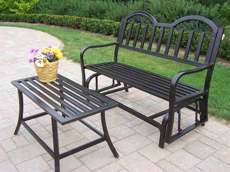 Oakland Living Rochester Wrought Iron Loveseat Glider Set