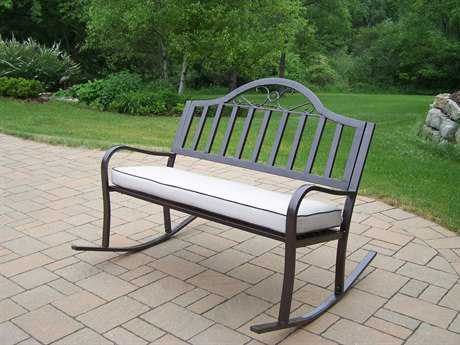 Oakland Living Rochester Wrought Iron Rocking Bench with Cushion
