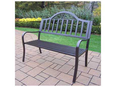 Oakland Living Rochester Wrought Iron Metal Arm Bench PatioLiving