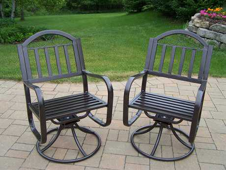 Oakland Living Rochester Wrought Iron Swivel Chair Pack of 2