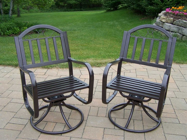 Oakland Living Rochester Wrought Iron Swivel Chair Pack of 2 PatioLiving
