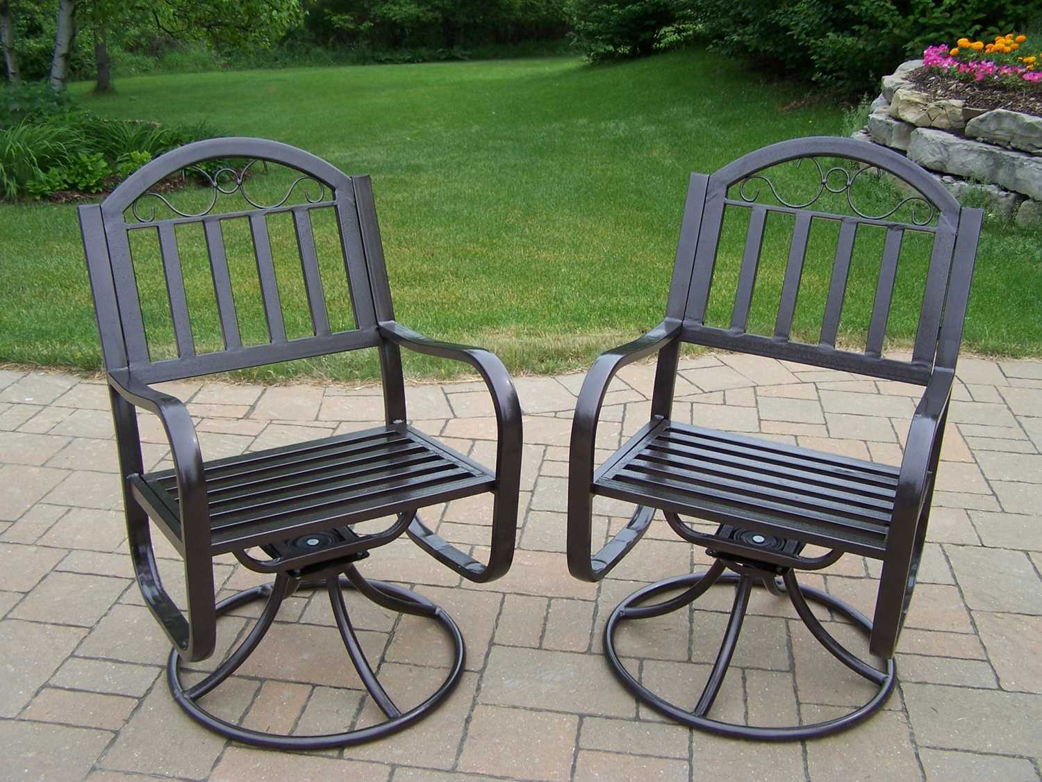Oakland Living Rochester Wrought Iron Swivel Chair Pack Of