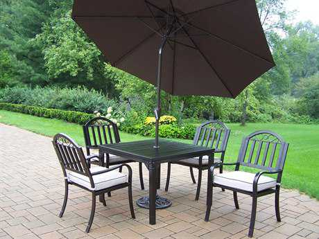 Oakland Living Rochester Wrought Iron 7 Pc. Dining Set with Cushion and Umbrella