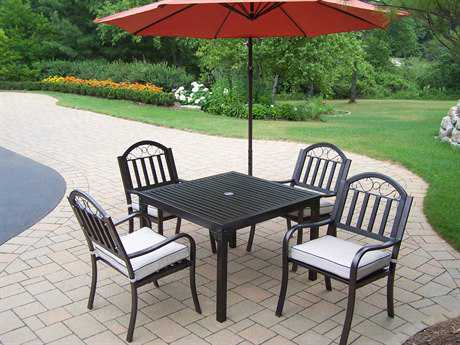 Oakland Living Rochester Wrought Iron 6 Pc. Dining Set with Cushions and Umbrella