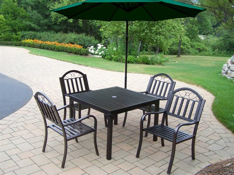 Oakland Living Rochester Wrought Iron 6 Pc. Dining Set with Umbrella PatioLiving