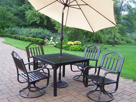 Oakland Living Rochester Wrought Iron 7 Pc. Swivel Dining Set with Umbrella